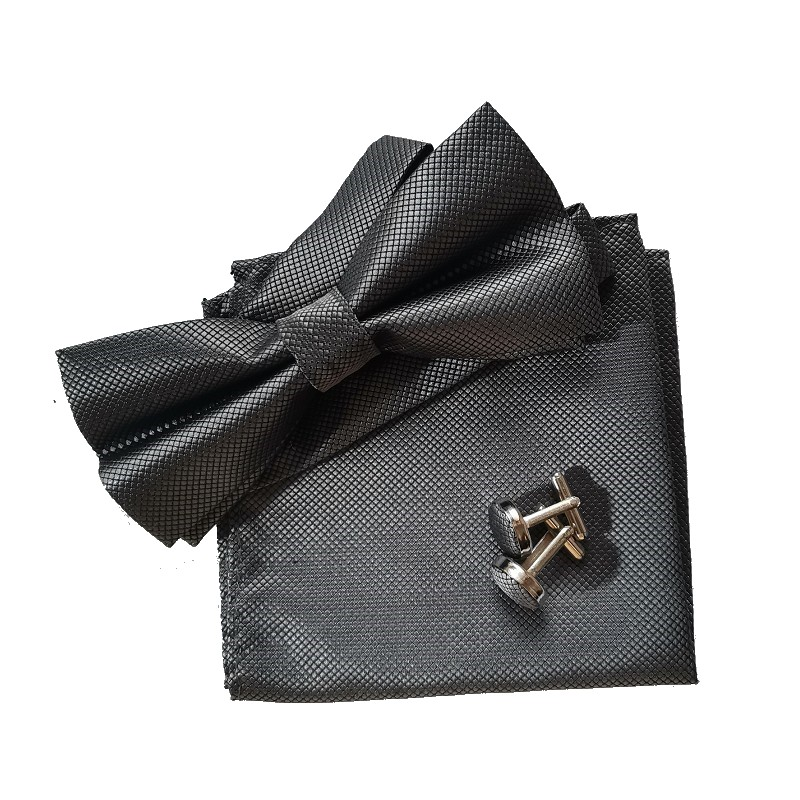 fluga set näsduk manschettlänk svart fluga klänning skjorta - Kläder tillbehör - Foto 4