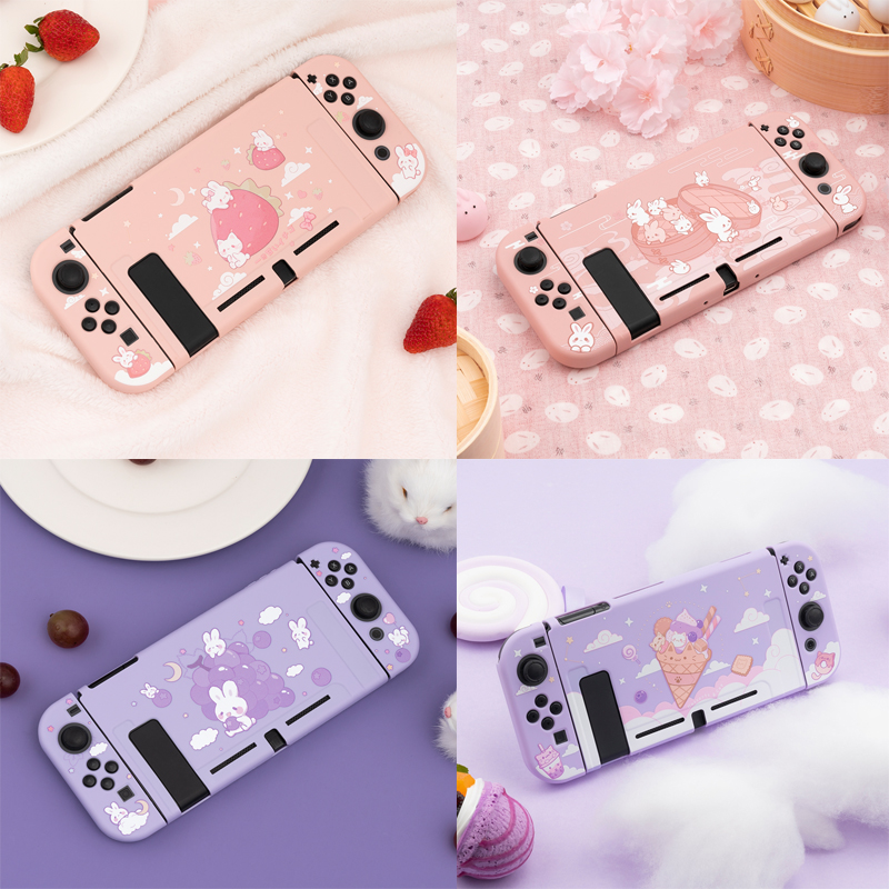 Soft TPU Skin Protective Case for Nintendo Switch NS Console Joy-Con Controller Protection Back Housing Shell Cover