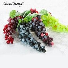 Chencheng frutas artificiais 1 peça uvas artificiais diy plástico falso frutas natal decoração de casamento casa simulação frutas