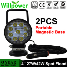 Willpower 2X 27W 42W Portable Magnetic Base 4 inch Led Work Light Car Truck Driving Offroad 4WD Camping 4x4 SUV ATV 12V 24V