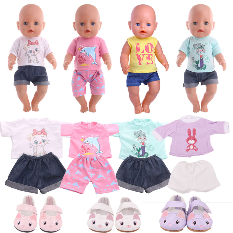 Cat T-Shirt Denim Shorts Two-Piece Suit And Cute Pink, White Cat Shoes  For 18 Inch  And 43 Cm Rebirth Dolls, Generation, Gifts