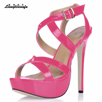 LLXF stilettos summer sandalias mujer 14cm Thin Heels shoes woman Cross Strap Patent Leather Pumps Ladies Party Buckle sandals