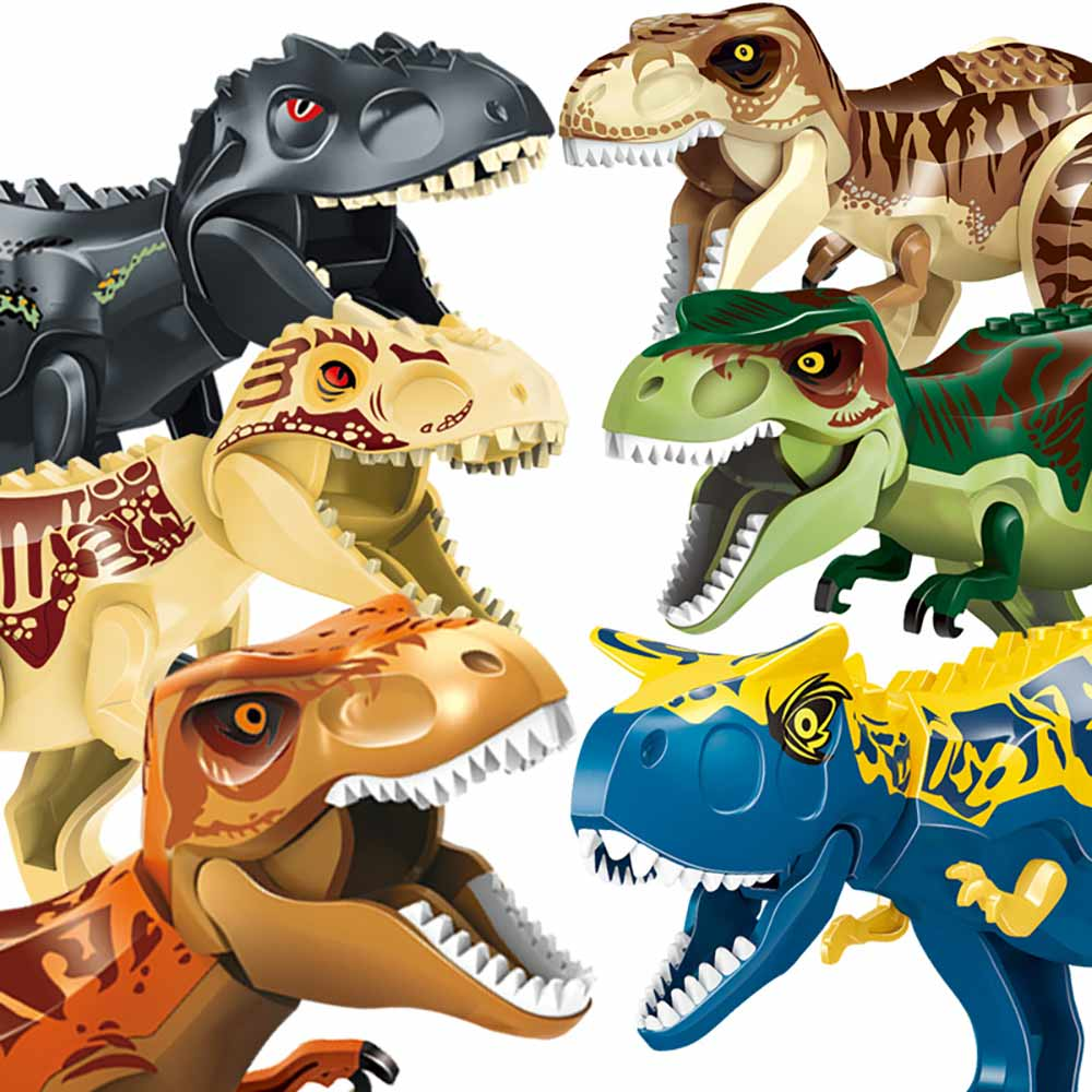 Assemble Building Blocks Dinosaur Animal Blocks Figures World Pterosaurs Triceratops  Bricks Models Toys For Children Gifts