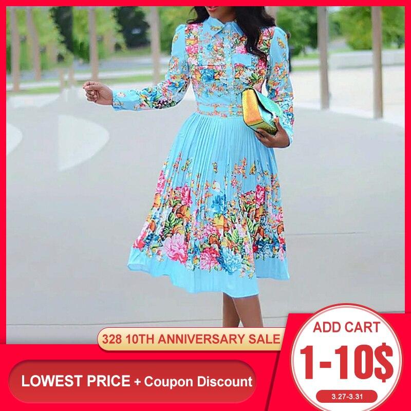 Весеннее женское плиссированное платье с длинным рукавом и цветочным принтом 2020, элегантное женское платье большого размера в африканском ...
