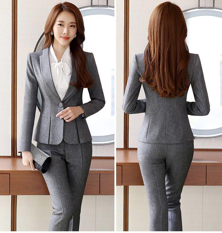 Womens Formal Work Suit Pants Black Grey Ladies Career Dress Suit Set Blazers and Pants Plus Size Uniform Pantsuits 3XL 4XL