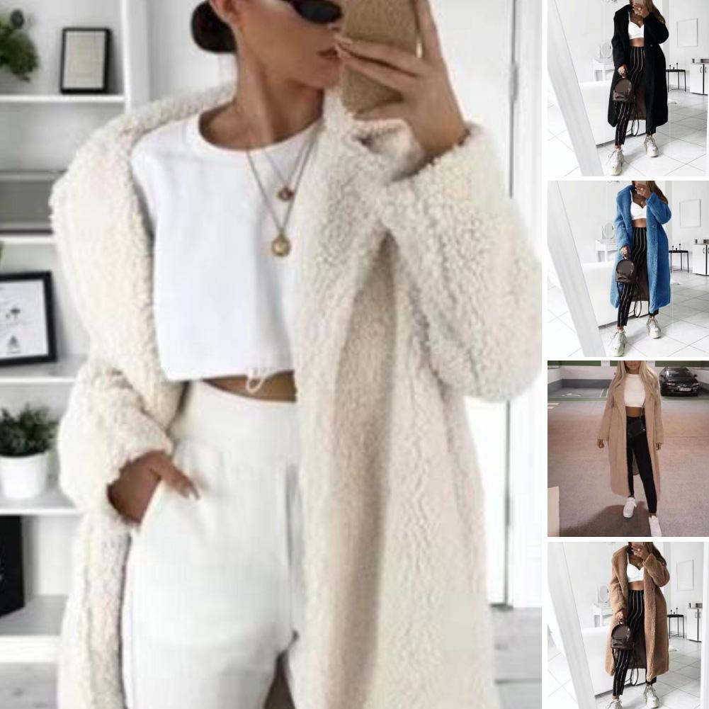 2019 Autumn And Winter Solid Color Woolen Coat Female Mid-Long  Korean Temperament Women's  Popular Outerwear Woolen Coat