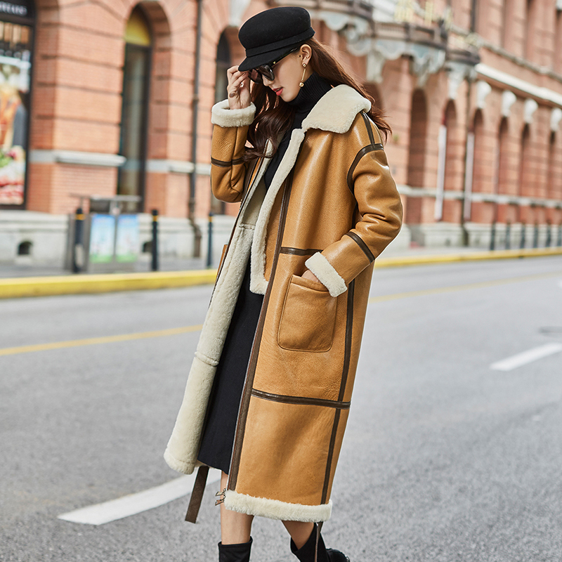 Natural Real Fur Coat Female Genuine Leather Jacket Winter Coat Women Clothes 2020 Korean Vintage Double-faced Long Tops ZT4271