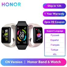 Honra original banda 6 pulseira relógio banda inteligente cn versão monitor de freqüência cardíaca sangue oxigênio spo2 tela toque amoled à prova dwaterproof água
