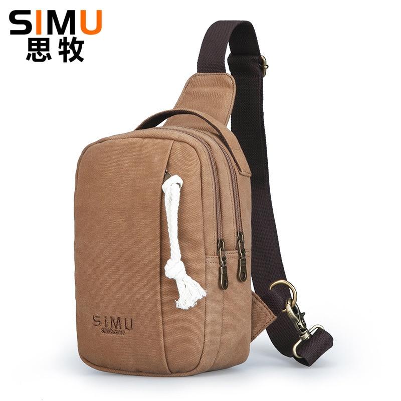 Thinking Grazing Canvas Shoulder Casual Chest Pack Men's Korean-style Retro Sling Bag Versatile Vintage Water Droplet Bag