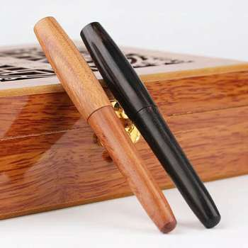 цена 1Pc Moonman Natural Handmade Wood Fountain Pen Ink Pen EF/M/EF Bent Nib Optional No Box Stationery Office school supplies онлайн в 2017 году