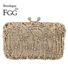 Boutique De FGG Hollow Out Flower Clutch Minaudiere Bag Women Crystal Evening Bags Wedding Party Dinner Floral Handbags Purses