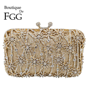 Image 1 - Boutique De FGG Hollow Out Flower Clutch Minaudiere Bag Women Crystal Evening Bags Wedding Party Dinner Floral Handbags Purses