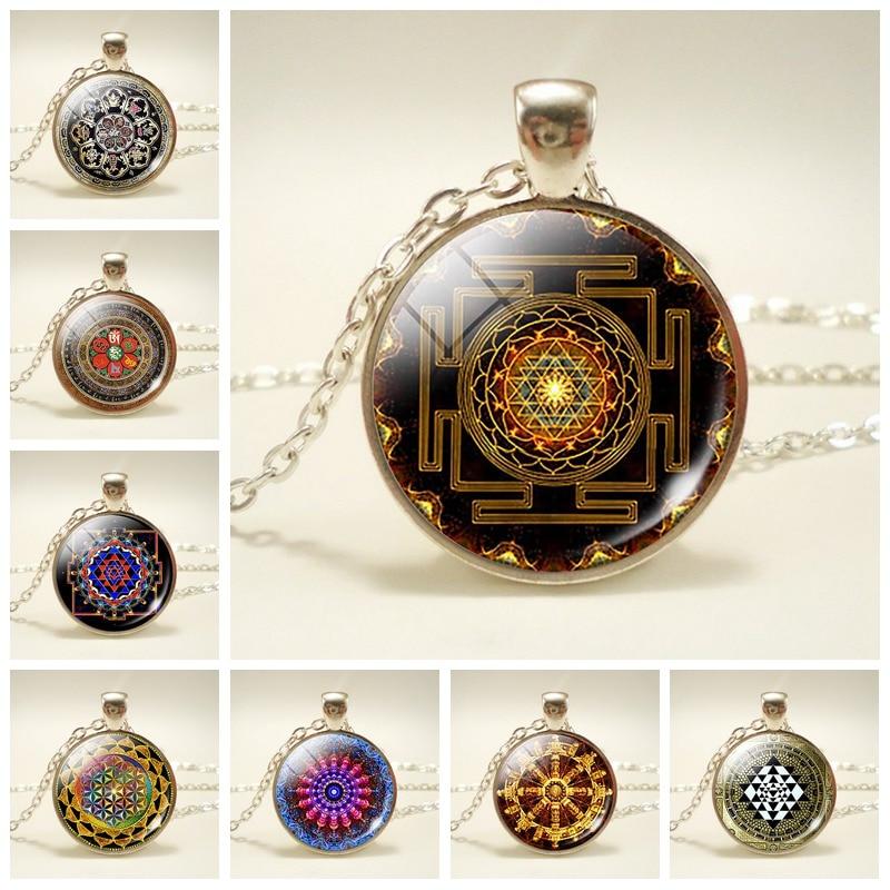Sri Yantra Sacred Geometry  Cabochon Glass Gold Locket Pendant Necklace