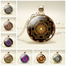 Sri Yantra Mandala Pattern Glass Cabochon Pendant Necklace Buddhist Sacred Geometry Silver Chain Necklace Spiritual Jewelry sri sri ravi shankar secrets of relationships