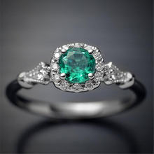 Fashion Women Ring Vintage Square Green Zircon Stone Engagement Female Casual Silver-Color