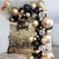 118 хромированные колпачки для латексные золотистые, черные шары арки комплект гирлянды большая арка для воздушных шаров Baby Shower Свадебные ...