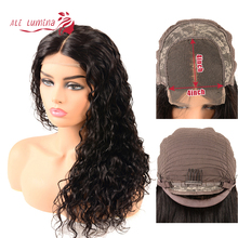 Ali Lumina 4X4 Remy Hair Lace Closure Wig Water Wave Human With Pervian