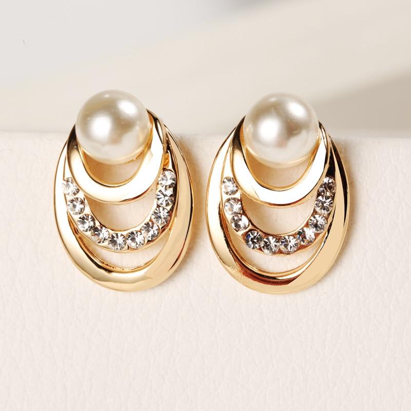 Korean Design Crystal Imitation Pearl Stud Earrings For Women Elegant Multi-layer Circles Gold Color Oorbellen Fashion Jewelry