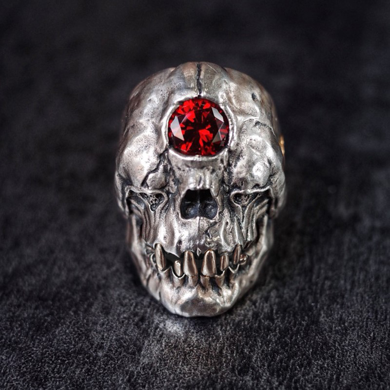 Red One-Eyed Demon Stainless Steel Rings CZ Crystal Cyclops Skull Ring Punk Gothic Biker Jewelry