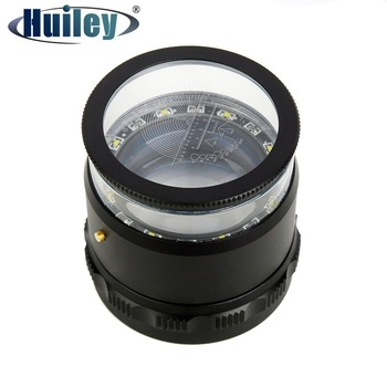 10X Illuminated Focus Adjustable Cylindrical Loupe Magnifier Measuring Magnifying Glass with Multi Scale Precision Calibration