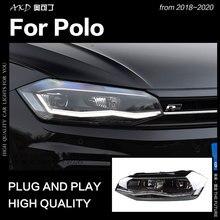 АКД стайлинга автомобилей для VW Polo фары- новые поло светодиодный фары DRL фара ближнего света дальнего света все светодиодный аксессуары
