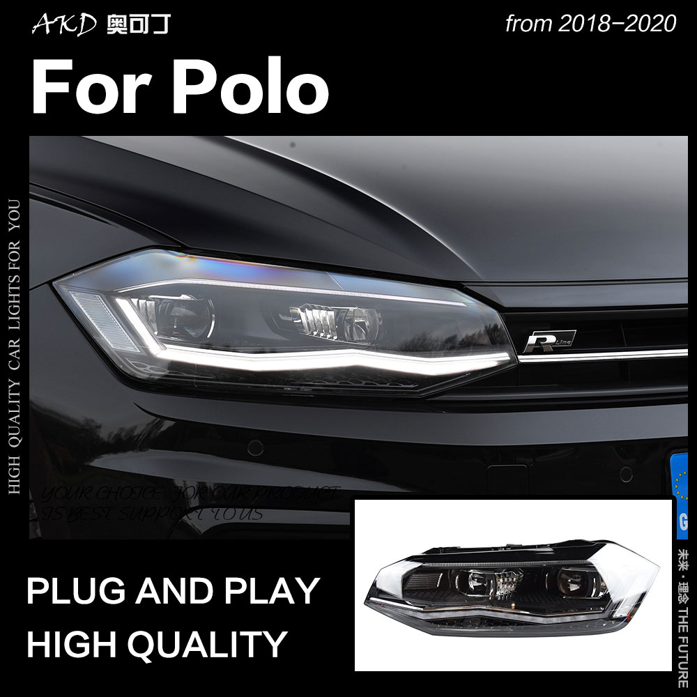 Faróis de AKD Estilo Do Carro para VW Polo 2019-2020 Novo Polo LED DRL Farol Cabeça Lâmpada Farol Baixo Alto feixe de TODOS OS Acessórios LEVARAM