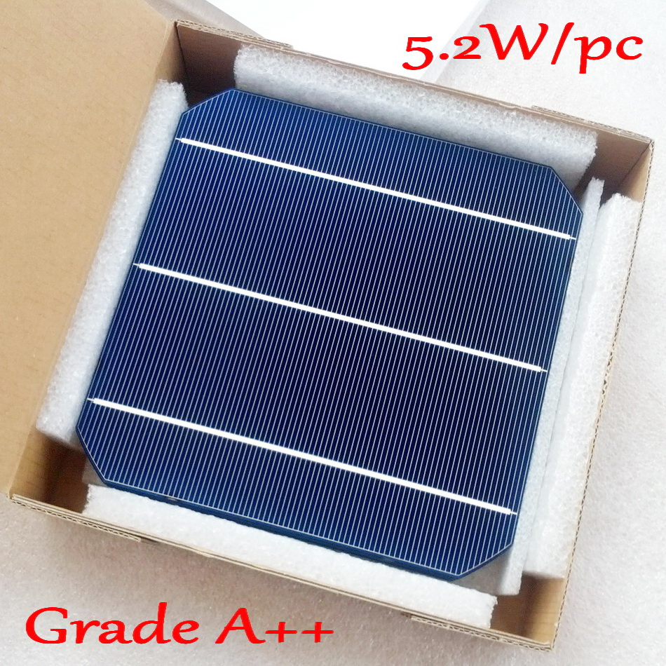 5.2W 156mm monocrystalline Mono solar cell 6x6'+enough PV Ribbon(10m Tab Wire+3m Busbar  Wire) for 52w Solar Panel-in Solar Cells from Consumer Electronics    1