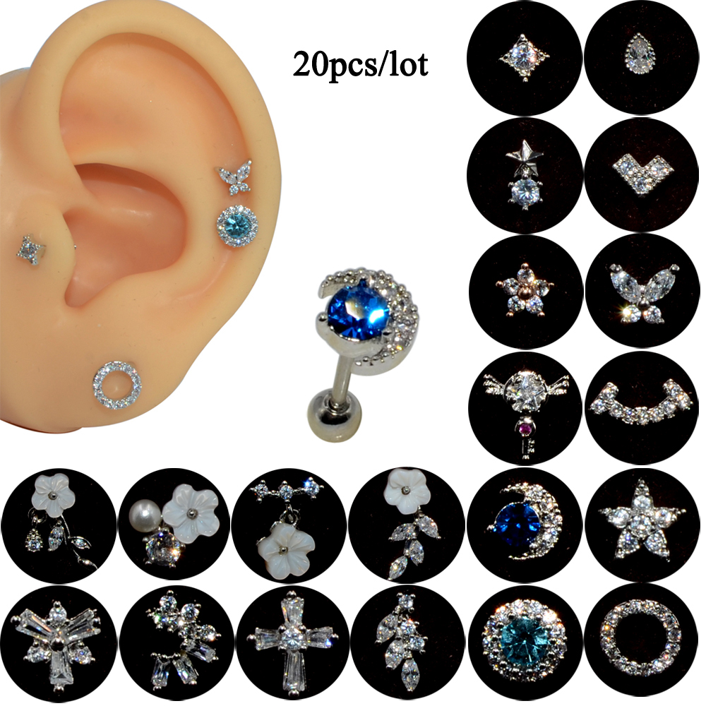 20PC Fashion Silver Color CZ Stud Piercing Flower Star Earring Conch Tragus Stud Helix Cartilage Trendy Body Piercing Jewelry 20
