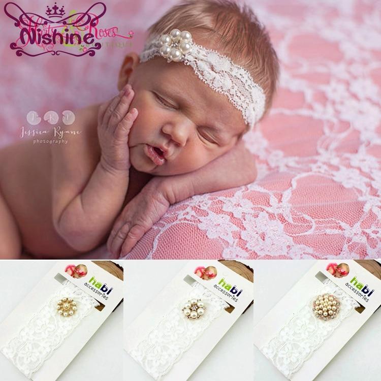 Yundfly Boutique Newborn Soft Pearl Rhinestone Headband Girls Baptism Christening Headbands Kids Hair Accessory
