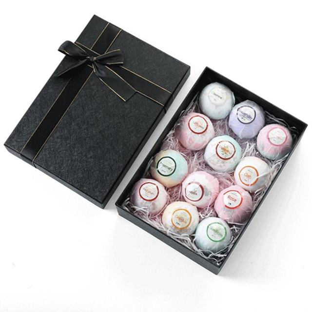 12Pcs Color Petal Series Bathing Bath Ball Set Gift Box Bathing Bubble Ball Bubble Bomb Bath Salt Set 3