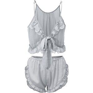 Image 5 - קיץ תחרה פיג מה הלבשת לנשים ספגטי רצועת פיג Cami למעלה + מכנסיים פיג מה סטי Nightwear תחרה בגדי בית