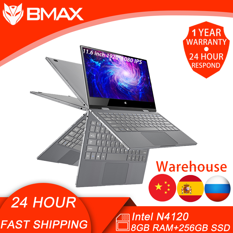 BMAX Y11  Laptop Intel N4120 8GB RAM 256GB SSD Windows10 1920 1080 Quick Charge 360 Rotating Touch Screen 11 6inch Notebook PC