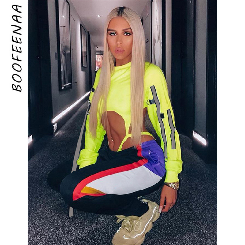 BOOFEENAA Sexy Hollow Out Reflective Ribbon Long Sleeve Bodysuit Women Fall Clothing 2019 Streetwear Winter Tops C87-AC08