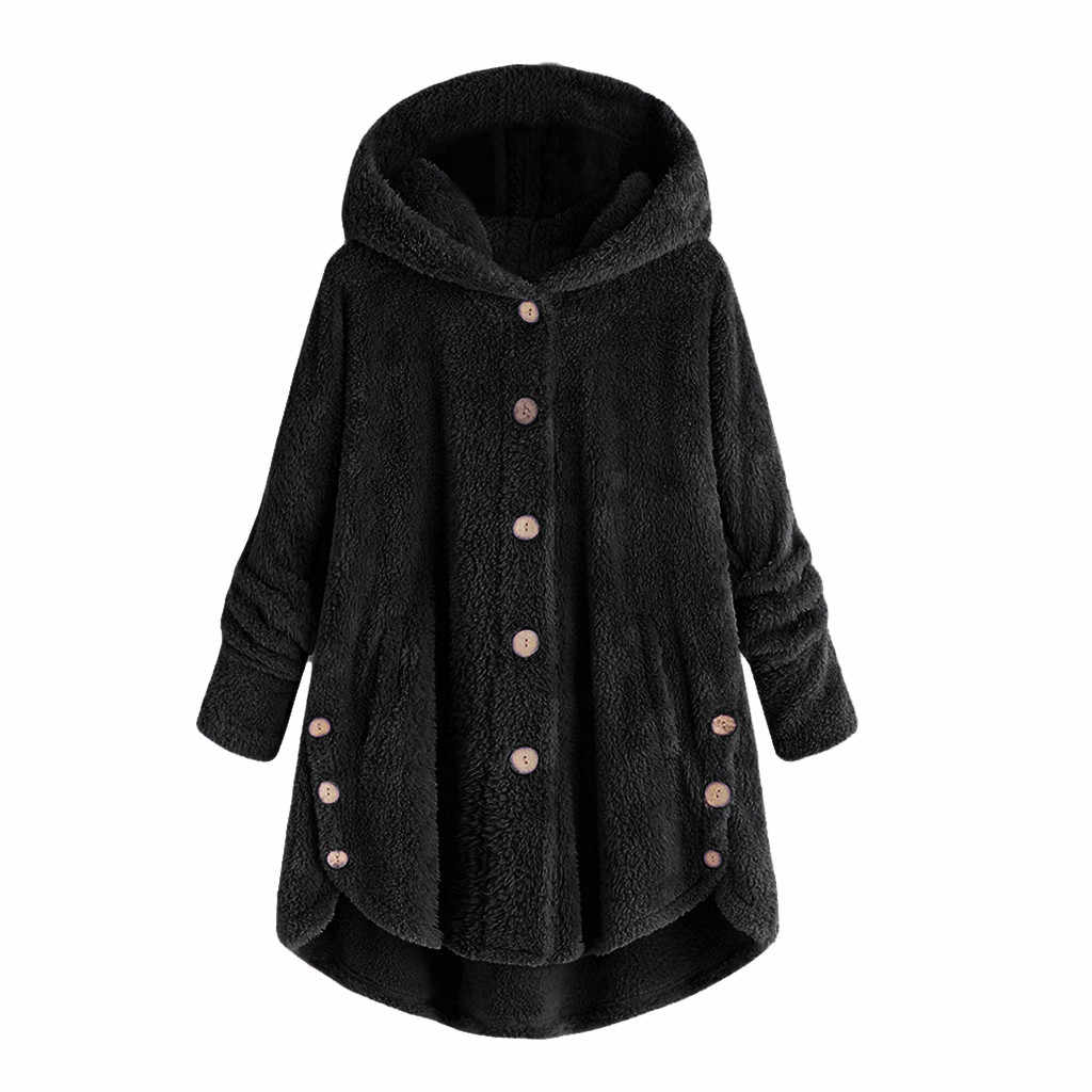 Winter Plus Size S-5XL Vrouwen Button Jas Pluizige Staart Tops Hooded Trui Losse Oversize Jassen Warm Uitloper Voor 2019 Mode # T