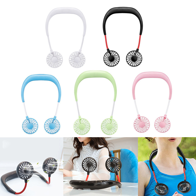 Portable Fans Neckband Fans With USB Rechargeable Battery Operated Dual Wind Head For Traveling Office