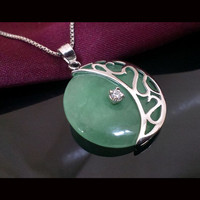 Silver 925 Jewelry sterling Green Jade Necklace Women Peace Buckle colgantes Pendant Jewelry Ornament National Retro