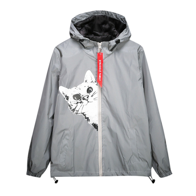 mens reflective jacket waterproof men women harajuku hooded hip-hop wings streetwear windbreaker jackets night shiny coats 903