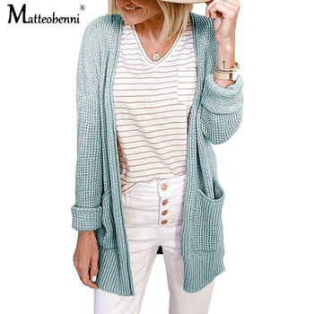 Women Sweater 2020 New Autumn winter Fashion Cardigans Long Sleeve Pockets Casual Solid Cardigan