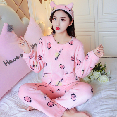 Dormxion Coral velvet autumn and winter lovely pajama female white ground heart embroidered flannel home suit women