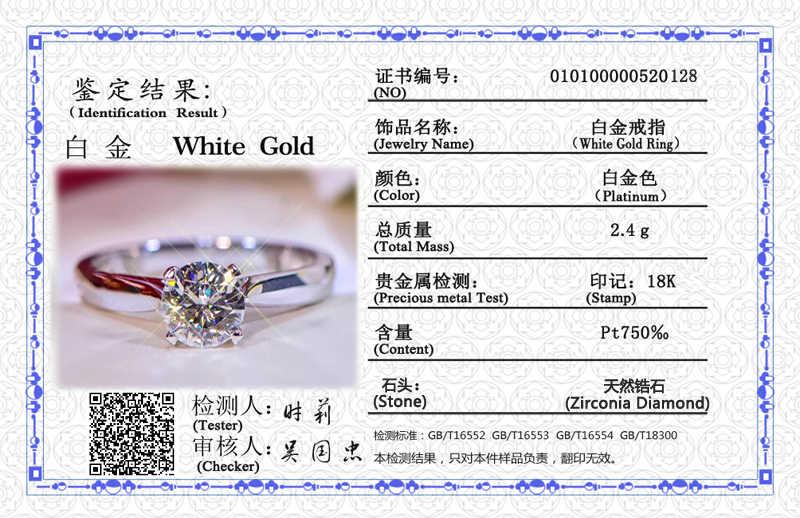 送料証明書シルバー 925 リングオリジナル白送信され 18 18kゴールドptの結婚式バンド 2.0ctビックジルコニアダイヤモンドジュエリー婚約指輪