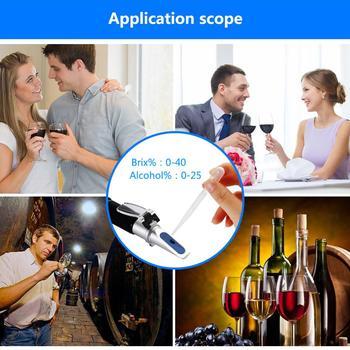 Densímetro Handheld Da Concentração Do Vinho Do Açúcar Do Refratômetro Do álcool 0-25% Cerveja Do álcool 0-40% Uvas Do Brix Atc