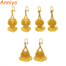Anniyo African Gold Color Drop Earrings for Women Girls,Arab Ghana Nigeria Jewelry Gifts With Heart Small Pieces #111306