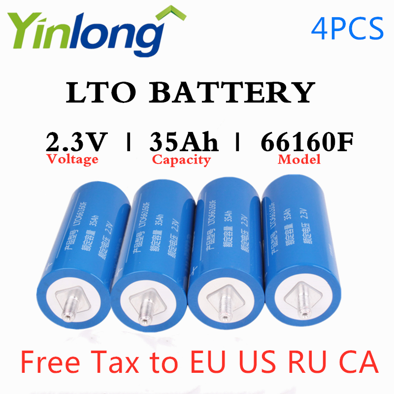 Rechargeable <font><b>66160</b></font> 2.3V 35Ah Cylindrical Lithium Titanium Oxide LTO Battery 4PCS For Electric Vehicles Yachts Charging Station image