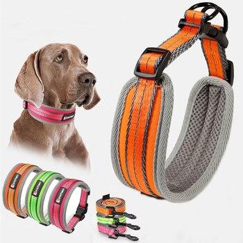Collar reflectivo para perro correa ajustable de nailon grueso transpirable para perros pequeños medianos Collar adiestramiento al aire libre