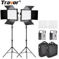 Travor 2set LED Video Light Kit L4500K Dimmable Camera light Prefessional Led light video For Studio photograpy Makeup Live