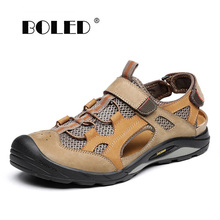 Genuine leather men sandals soft comfortable male summer shoes casual outdoor walking shoes men g n shi jia black genuine leather upper rubber outsole men s leisure shoes sewing soft outdoor retro male casual shoes 888330