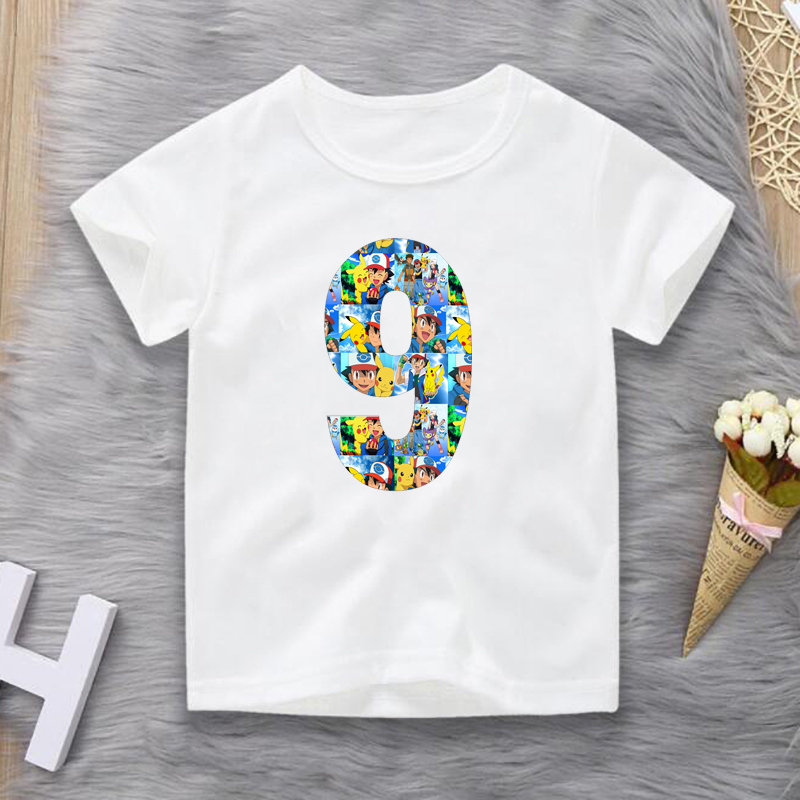 2020 Boys/Girls Pokemon Go Pikachu Number 1-9 Print T Shirt Kids Happy Birthday Gift Clothes Children Cartoon Funny Baby T-shirt image
