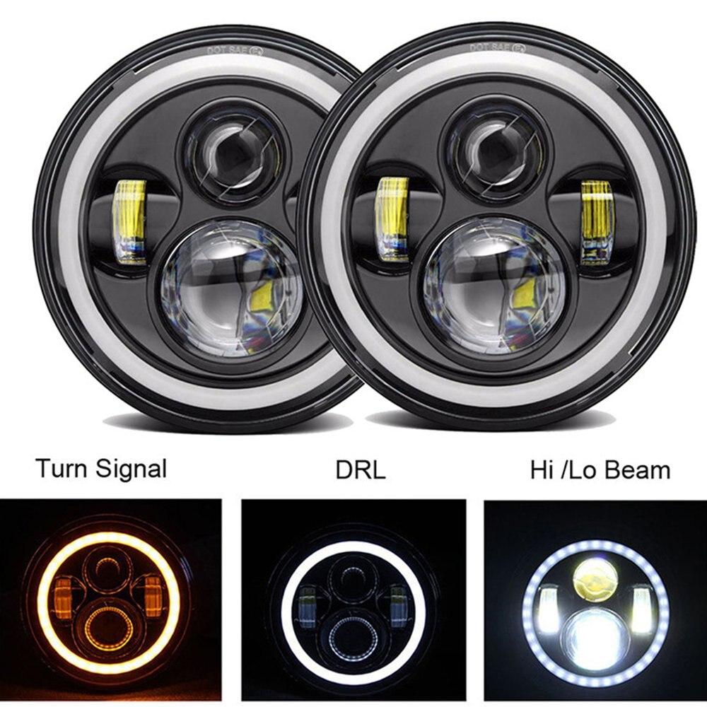 "2X 7/""40W LED Halo Angel Eyes Headlight Round Lamp For Jeep Wrangler JK TJ Hl//Lo"