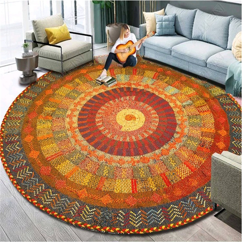 Round Carpet Mandala 120Cm Persian Rugs Bedroom Large Morocco Area Rug For Living Room Anti-Slip Baby Room Kidsroom Carpet 60cm