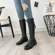 Black zipper boots warm wild thick British wind Leather Boots Long-barreled Women's boots winter new knight Women boots U11-86(China)